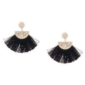 "Rose Gold 2.5"" Crystal Tassel Drop Earrings - Black,"