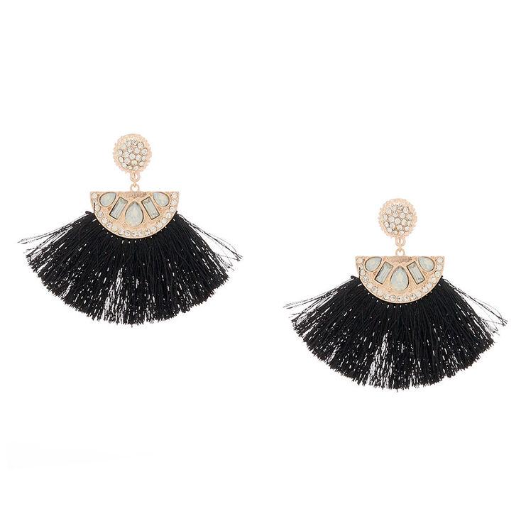 """Rose Gold 2.5"""" Crystal Tassel Drop Earrings - Black,"""