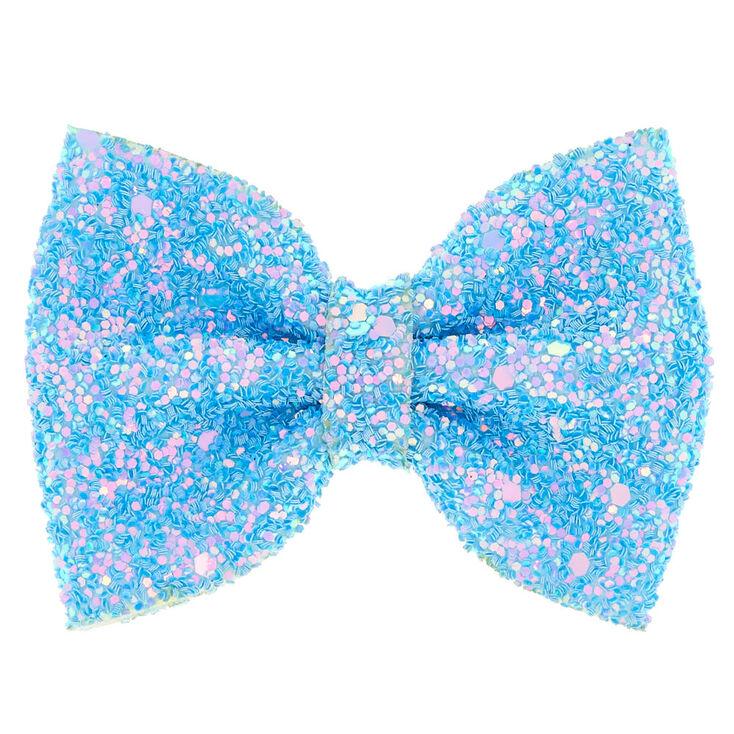 Mini Glitter Hair Bow Clip - Baby Blue,