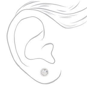 Sterling Silver 4MM Glass Stone Stud Earrings,