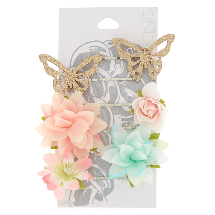 6 Pack Flower & Butterfly Bobby Pins,