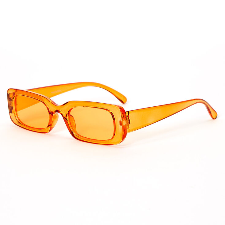 Slim Rectangle Transparent Sunglasses - Orange,