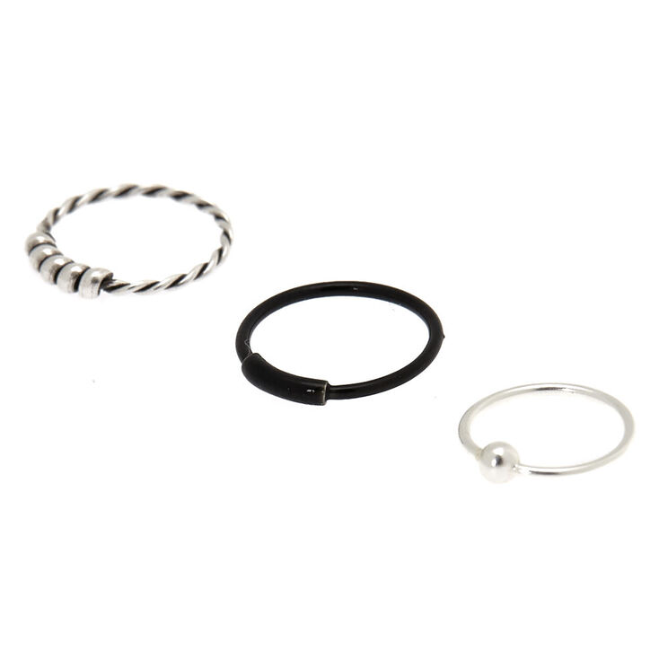 Sterling Silver Braided Nose Ring - 3 Pack,
