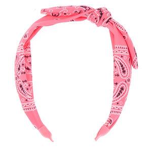 Bandana Knotted Bow Headband - Neon Pink,