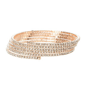 Rose Gold Studded Coil Statement Bracelet,