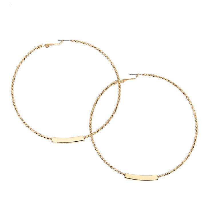 Big Gold Bar Hoop Earrings,