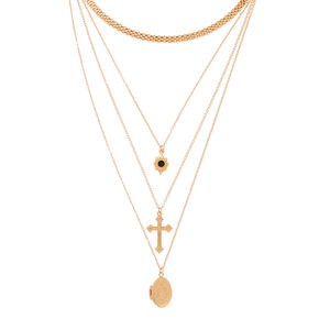 Gold Cross Locket Multi Strand Necklace,