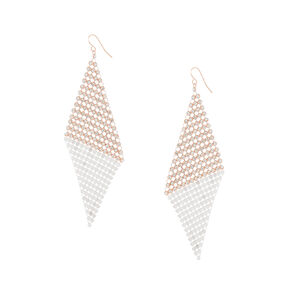 "Mixed Metal 4"" Mesh Wing Drop Earrings,"