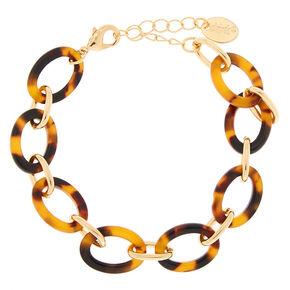 Gold Resin Tortoiseshell Chain Bracelet - Brown,