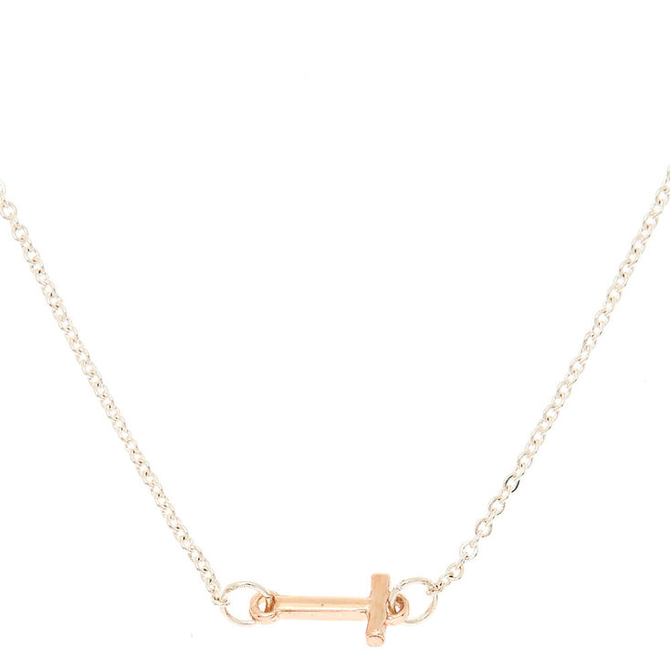 Mixed Metal Sideways Initial Pendant Necklace - T,