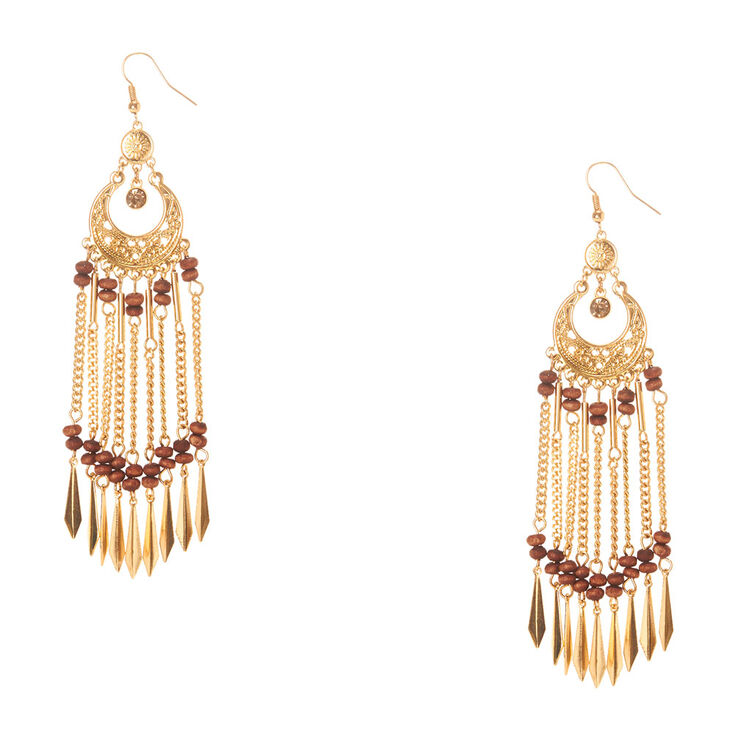 Gold Wood Dreamcatcher Earrings