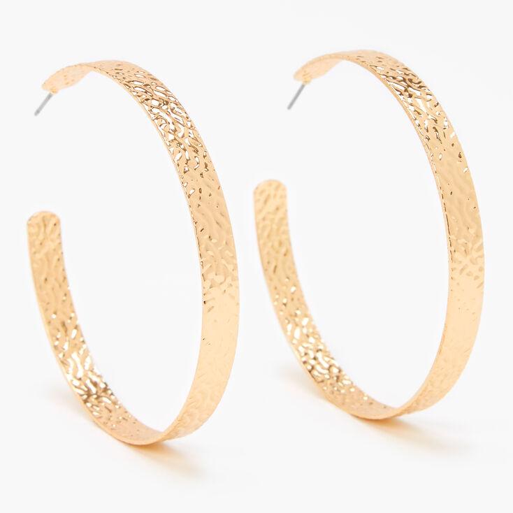 Gold 60MM Flat Hammered Hoop Earrings,