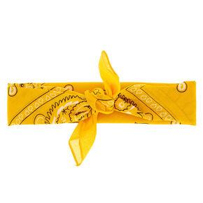 Paisley Print Bandana Headwrap - Mustard Yellow,