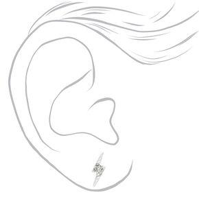 Sterling Silver Crystal Lightning Bolt Stud Earrings,