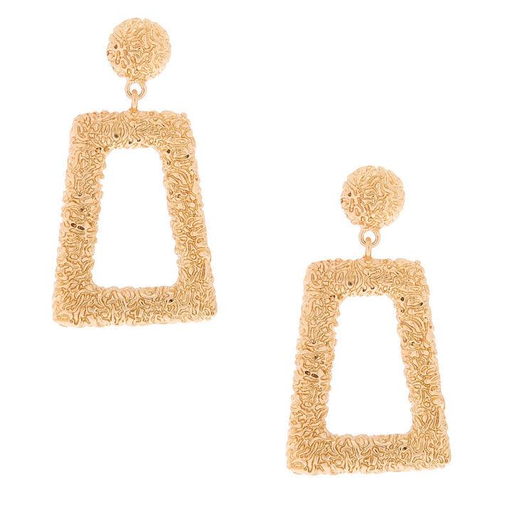 "Gold 2.5"" Textured Drop Earrings,"