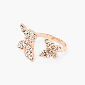 Rose Gold Double Butterfly Open Ring,