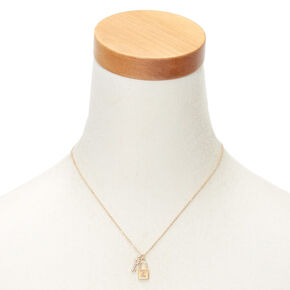 Gold Lock & Key Initial Pendant Necklace - Z,
