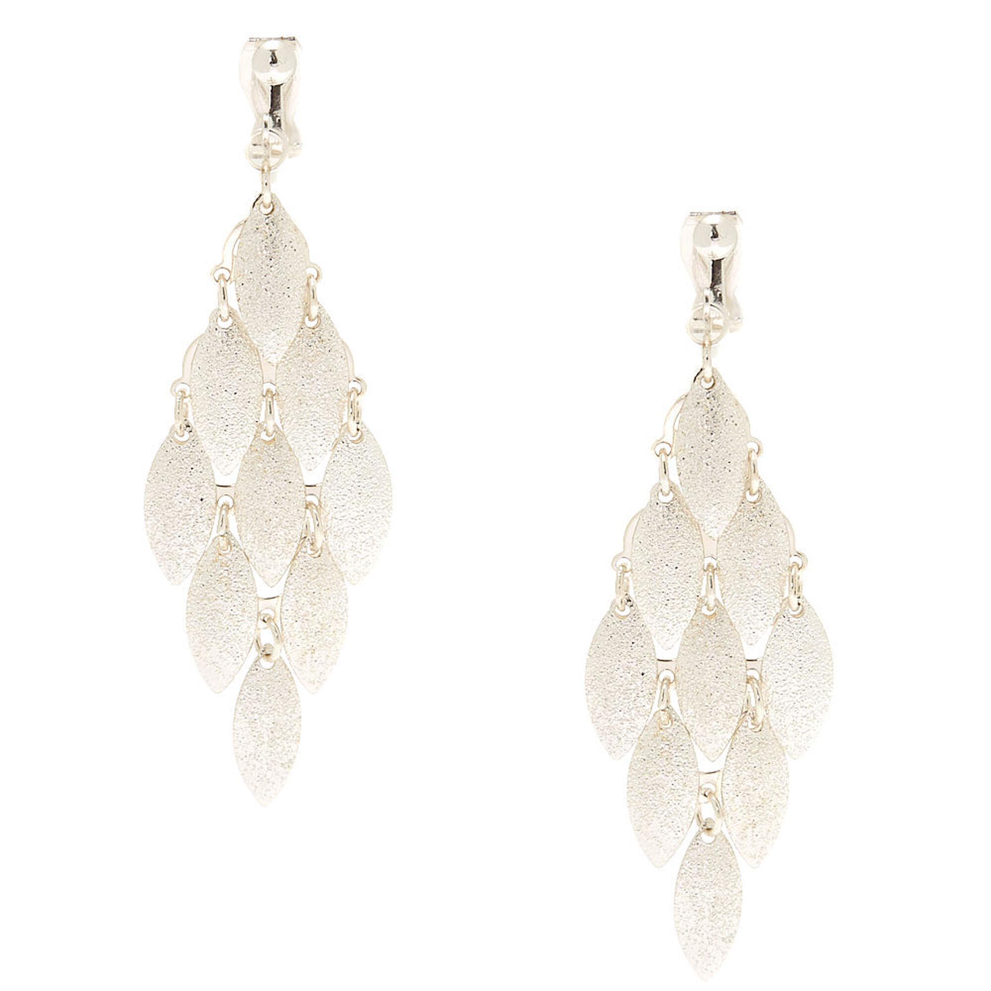 Silver 2 5 Tiered Clip On Drop Earrings