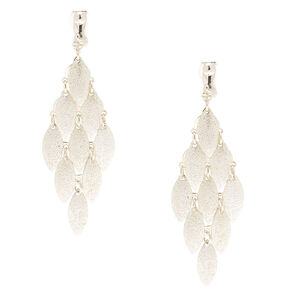 "Silver 2.5"" Tiered Clip On Drop Earrings,"