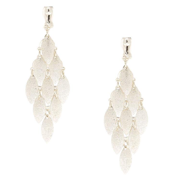 "Silver 2.5"" Tiered Clip On Drop Earrings,"