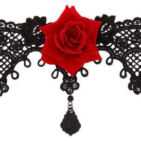 Lace Floral Choker Necklace - Black,