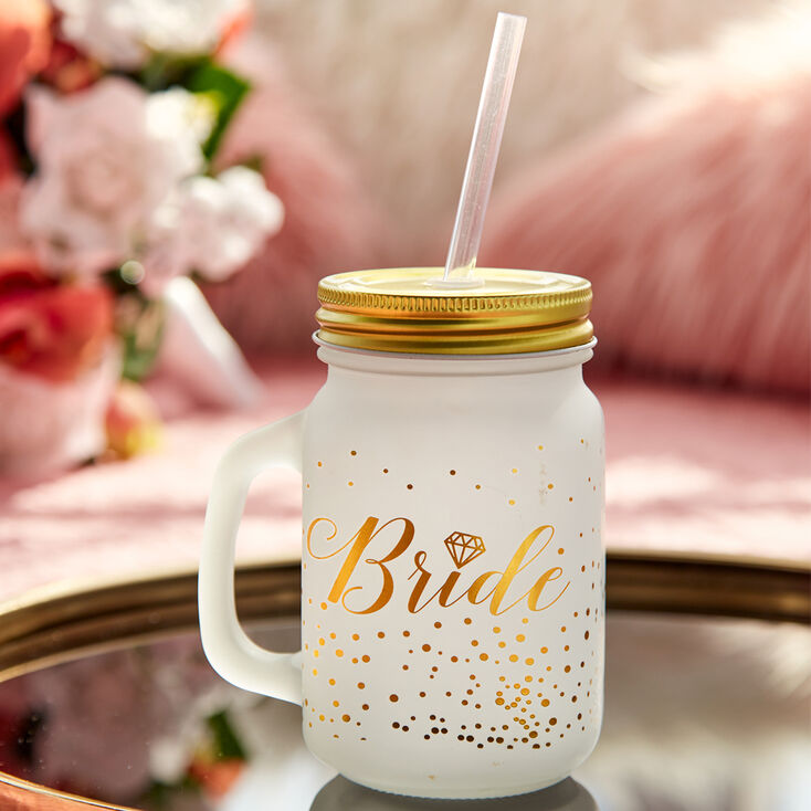Bride Frosted Mason Jar Cup,