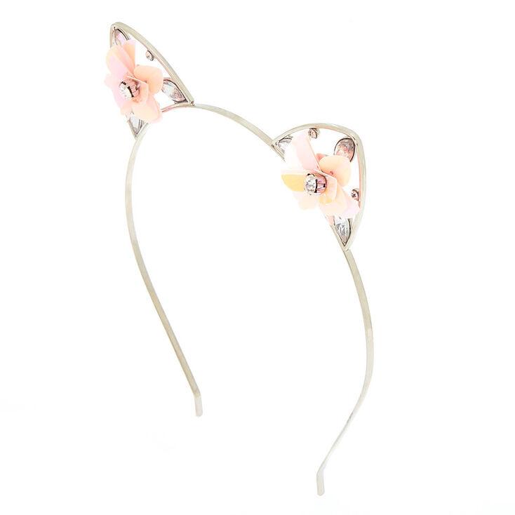 Sequin Flower Cat Ears Headband - Baby Pink,