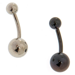 Metallic Hematite + Silver Tone Belly Rings,