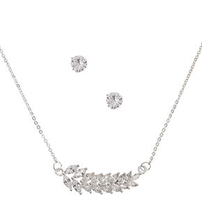 Silver Cubic Zirconia Leaf Jewelry Gift Set - 2 Pack,