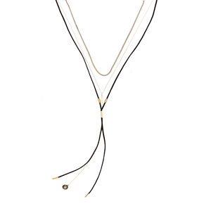 Gold Bolo Multi Strand Necklaces - Black, 2 Pack,
