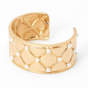 Gold Quilted Pearl Cuff Bracelet,