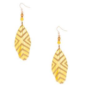 "4"" Feather Drop Earrings - Yellow,"