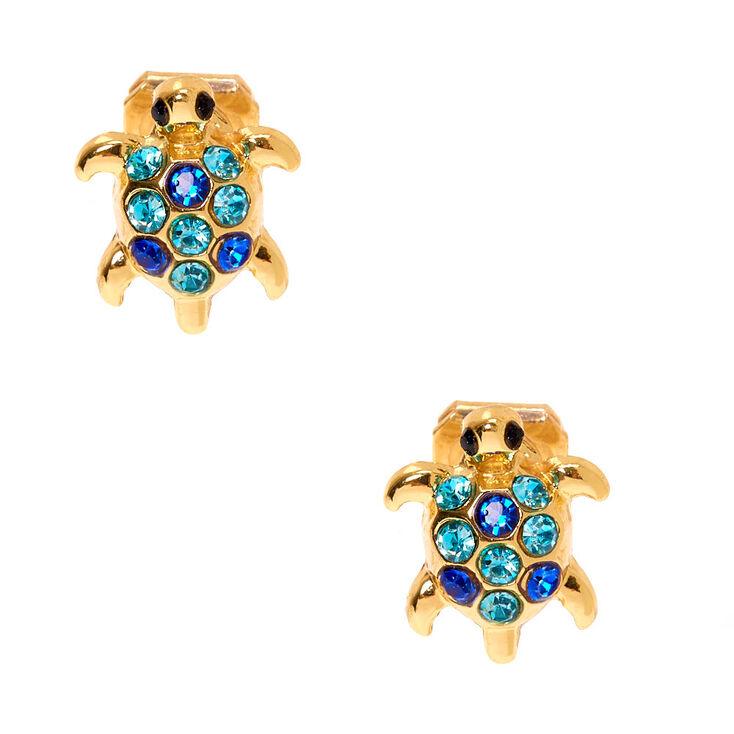 Gold Turtle Clip On Stud Earrings,