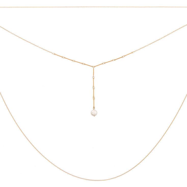 Gold Pearl Multi Strand Necklace,