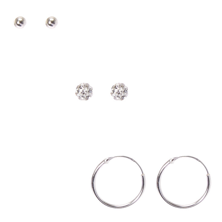 925 Sterling Silver Fireball Stud Earrings 3 Pack,