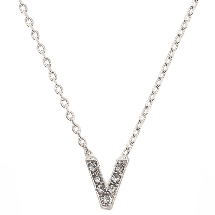 Silver Studded V Initial Necklace,