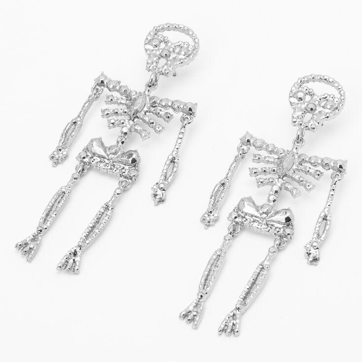 """Silver 3.5"""" Cubic Zirconia Skeleton Drop Earrings,"""