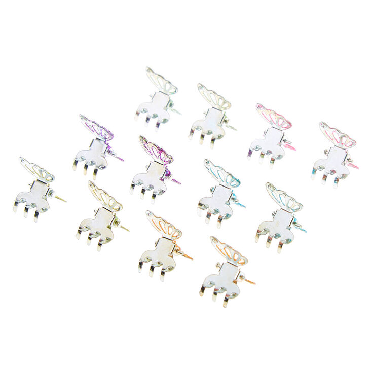 Rainbow Glitter Butterfly Mini Hair Claws - 12 Pack,