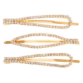 Gold Rhinestone Oval Bobby Pins - 3 Pack,