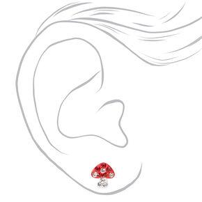 Sterling Silver Embellished Mushroom Stud Earrings - Red,