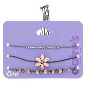 Hematite Floral Statement Bracelets  - Pink, 3 Pack,