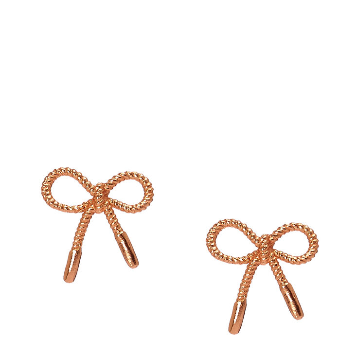 Rose Gold Plated Rope Bow Stud Earrings,