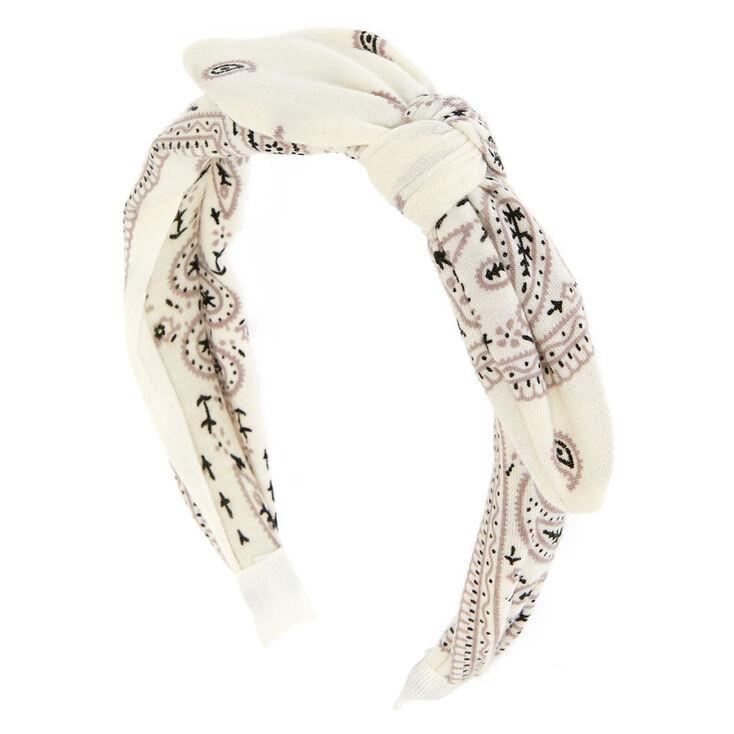 White Bandana Print Bow Headband,