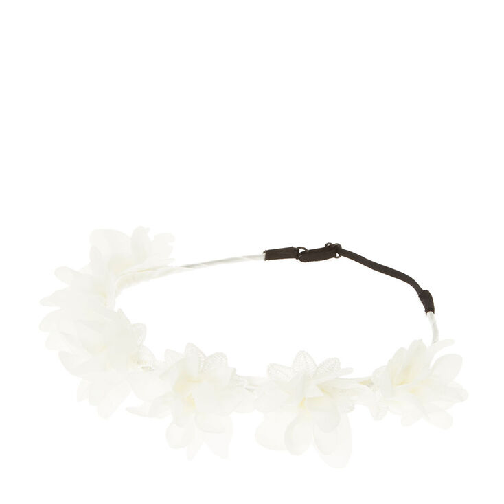 White Chiffon Flower Crown,