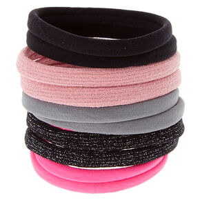 Pink, Black & Gray Rolled Hair Ties,