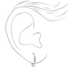 Sterling Silver 12MM Crystal Embellished Hoop Earrings,
