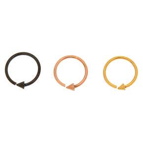 Mixed Metal 20G Arrow Hoop Nose Rings - 3 Pack,