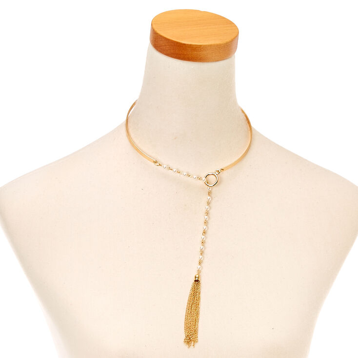 Pearl & Gold Tassel Collar Necklace,