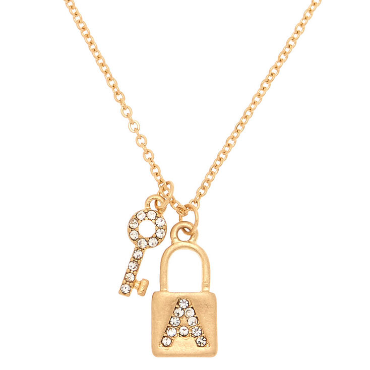 Gold Lock & Key Initial Pendant Necklace - A,