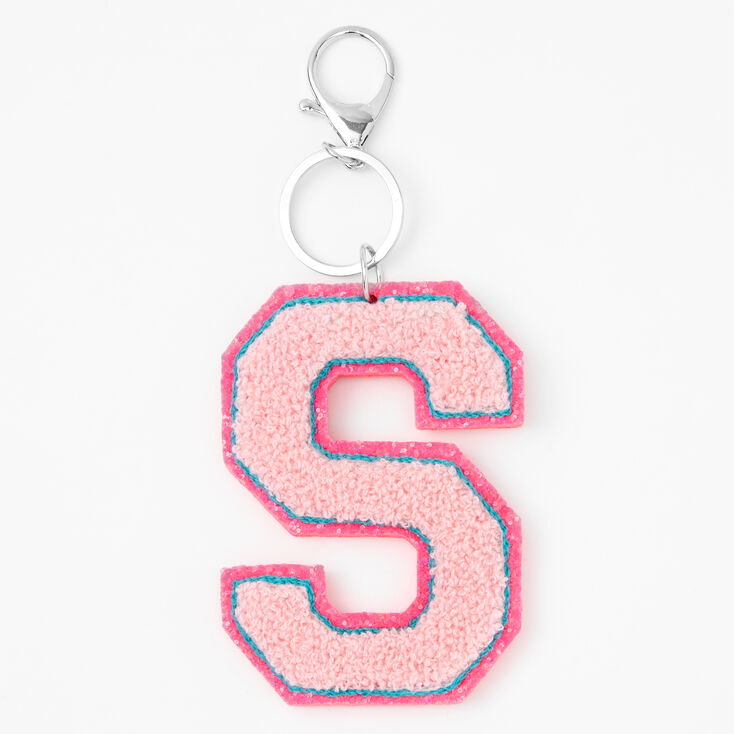 Pink Varsity Initial Keychain - S,
